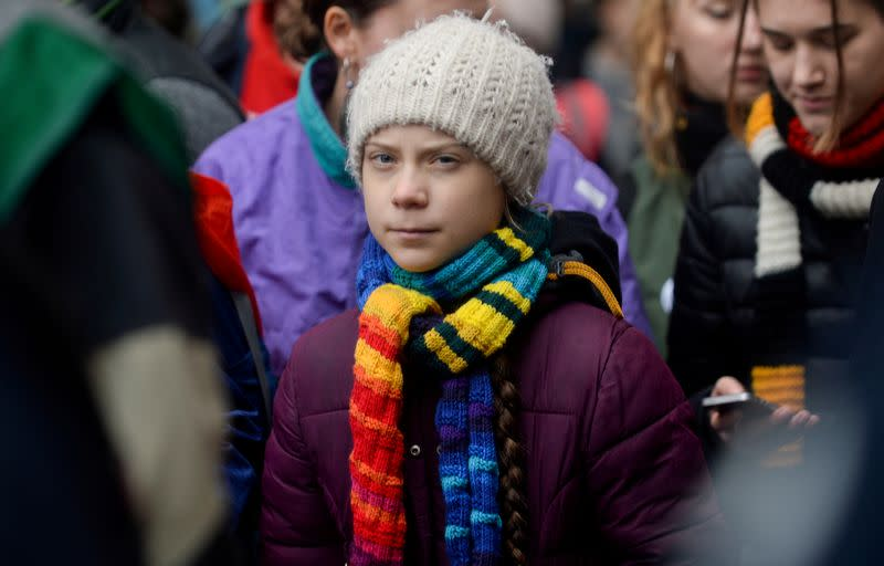 FILE PHOTO: Swedish climate activist Greta Thunberg takes part in the rally ''Europe Climate Strike'' in Brussels