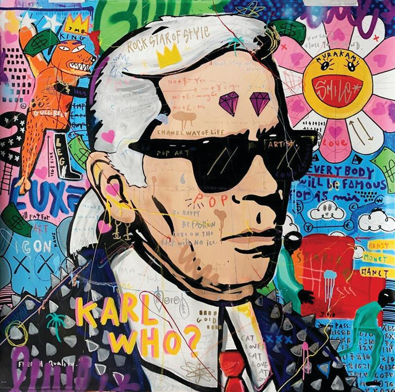 An artwork with the late legendary fashion designer Karl Lagerfeld by Jisbar Planche. (PHOTO: Voilah! France Singapore Festival)