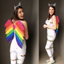 """<p>Rainbow duct tape and multi-colored felt make quick work of this killer '90s-inspired costume. </p><p><a class=""""link rapid-noclick-resp"""" href=""""https://sewbakedecorate.com/2015/11/03/diy-lisa-frank-rainbow-kitten-costume/"""" rel=""""nofollow noopener"""" target=""""_blank"""" data-ylk=""""slk:GET THE TUTORIAL"""">GET THE TUTORIAL</a></p><p><a class=""""link rapid-noclick-resp"""" href=""""https://www.amazon.com/Darice-30079673-Patterned-Rainbow-Multicolor/dp/B07T8K2CXW/?tag=syn-yahoo-20&ascsubtag=%5Bartid%7C10072.g.33547559%5Bsrc%7Cyahoo-us"""" rel=""""nofollow noopener"""" target=""""_blank"""" data-ylk=""""slk:SHOP DUCT TAPE"""">SHOP DUCT TAPE</a></p>"""