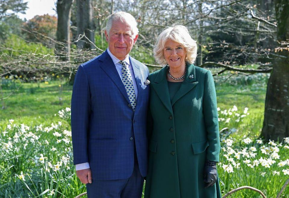<p>The Prince of Wales and Duchess of Cornwall took a flower-filled portrait at the reopening of Hillsborough Castle in Belfast, Northern Ireland.</p>