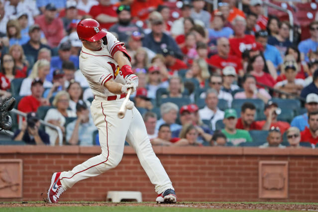 St. Louis Cardinals' Paul Goldschmidt hits a solo home run during the fourth inning of a baseball game against the Houston Astros Saturday, July 27, 2019, in St. Louis. (AP Photo/Jeff Roberson)