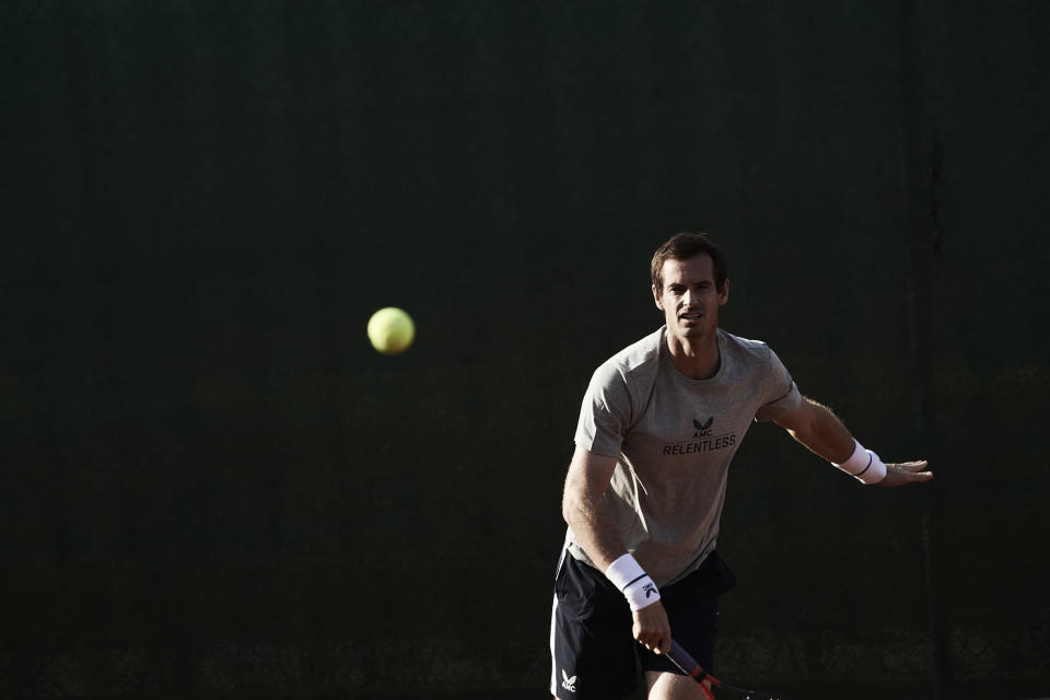 Andy Murray, wearing his AMC clothing brand, has thrown himself into gym work