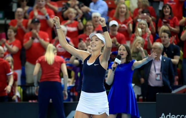 Katie Boulter celebrates securing victory over Kazakhstan for Great Britain but the win came at a big cost