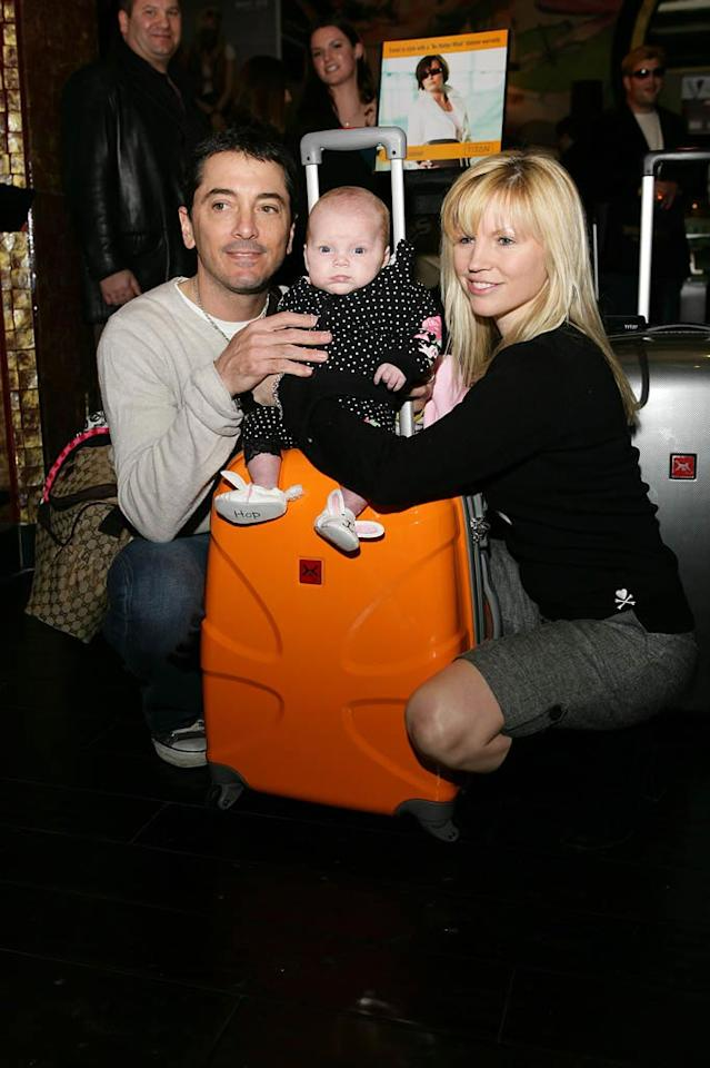 """Scott Baio and his wife Renee showed off their new baby girl Bailey at the Silver Spoon gift lounge. It's never too early to start getting freebies! Alex Turner/<a href=""""http://www.splashnewsonline.com/"""" target=""""new"""">Splash News</a> - February 21, 2008"""