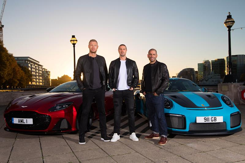 EDITORIAL USE ONLY (Left to right) Andrew 'Freddie' Flintoff, Paddy McGuinness and Chris Harris with an Aston Martin DBS Superleggera and a Porsche 911 GT2 RS at Billingsgate Market, London as they are revealed as BBC Top Gear's new presenting line-up, taking over the helm from Matt LeBlanc whose final series will air in early 2019 on BBC Two.