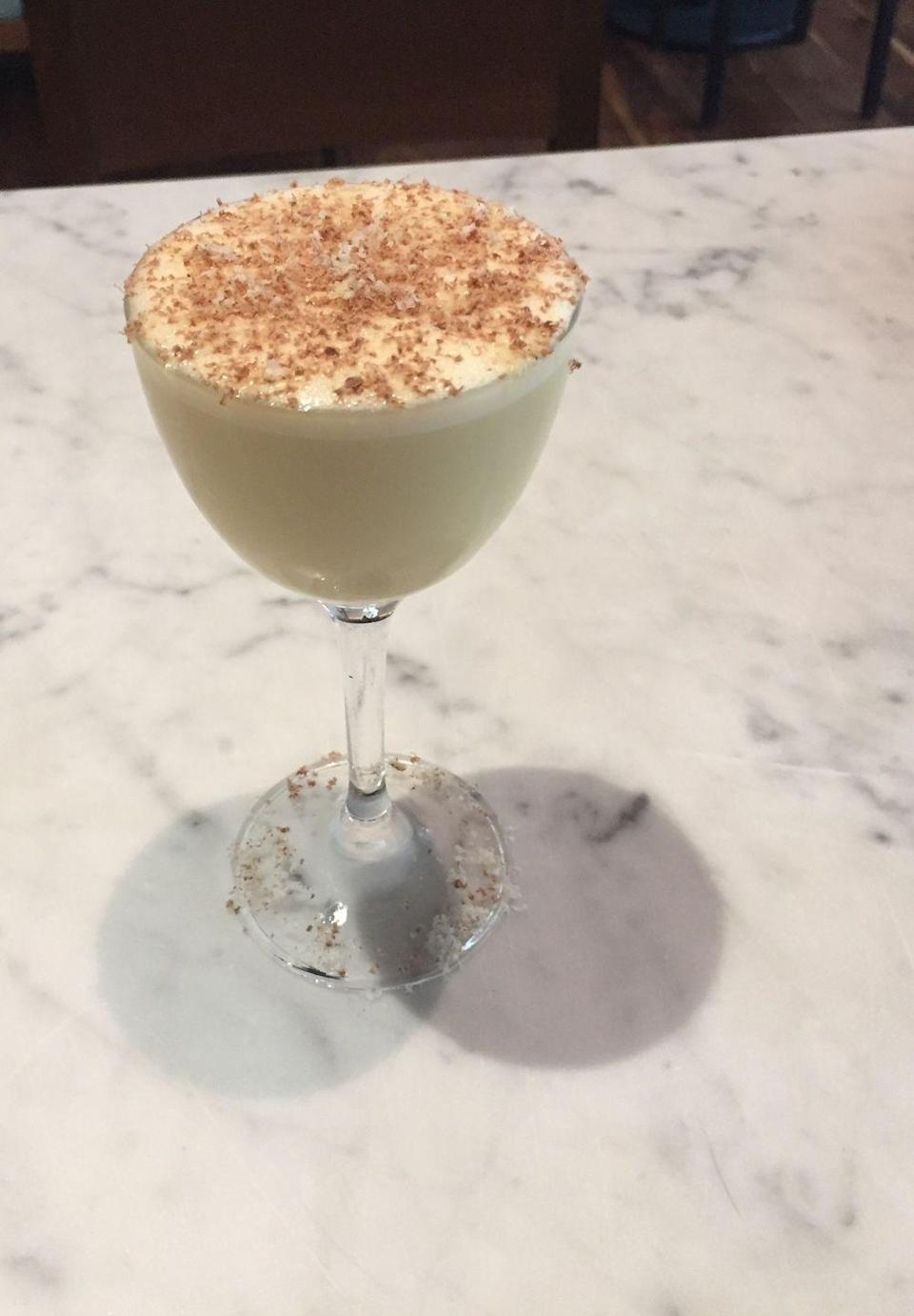 """<p><strong>Ingredients<br></strong>1.25 oz Old Forester bourbon <br>.75 oz Art in the Age (ginger) Snap liqueur<br>.75 oz honey<br>.75 oz cream<br>1 egg yolk <br>Grated chocolate, pecan, and nutmeg for garnish </p><p><strong>Instructions</strong><br>Combine all ingredients except garnish in shaker with 2 to 3 ice cubes. Discard ice cubes and dry shake. Strain into coupe glass. To garnish, grate chocolate, pecan and nutmeg. </p><p><em>Courtesy of <a href=""""https://italiennenyc.com/"""" rel=""""nofollow noopener"""" target=""""_blank"""" data-ylk=""""slk:Italienne"""" class=""""link rapid-noclick-resp"""">Italienne</a>, New York City</em></p>"""
