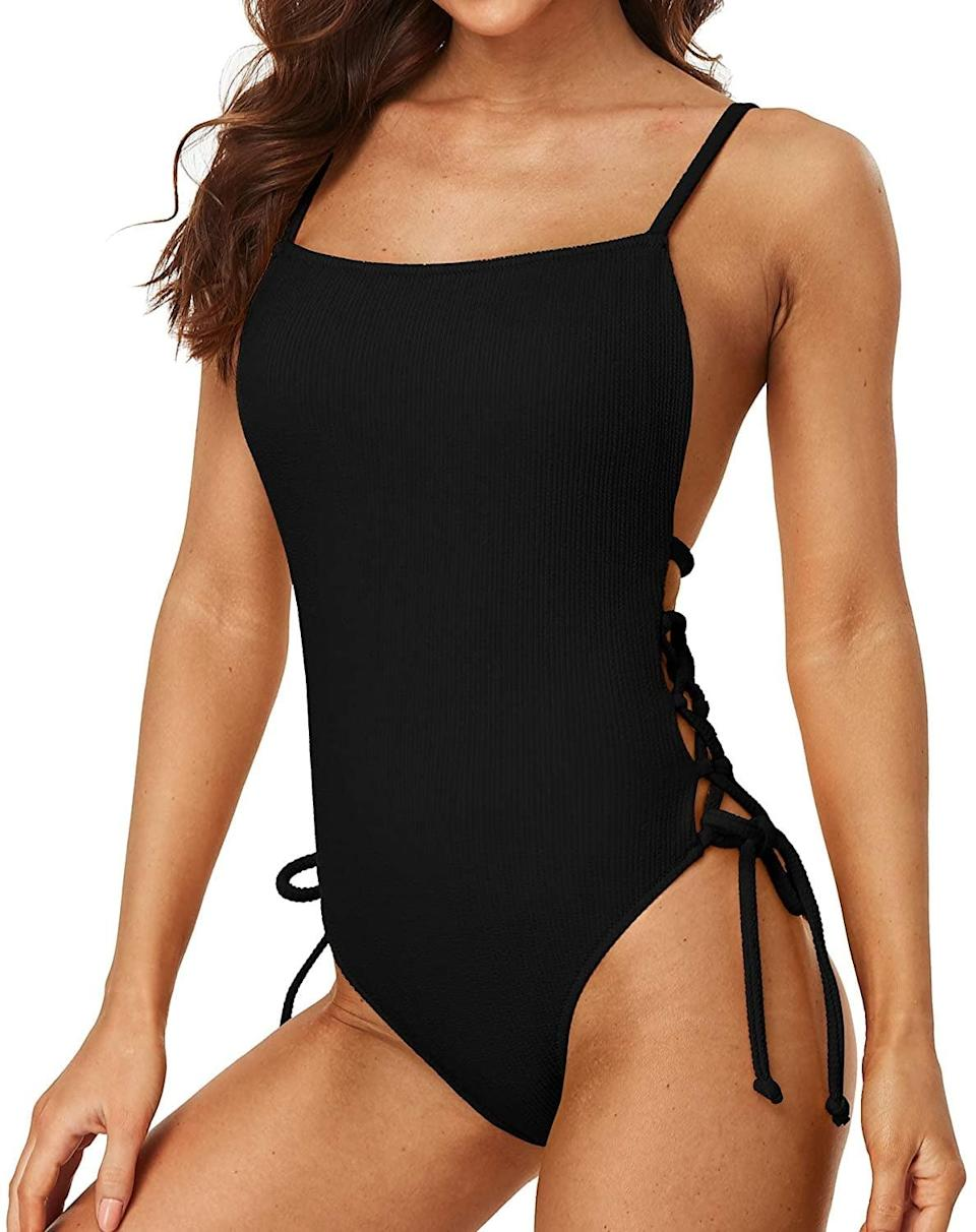 <p>The knot details of this <span>Sociala Ribbed Tie Side One-Piece Bathing Suit</span> ($29) make it stand out.</p>