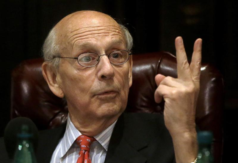 U.S. Supreme Court Justice Stephen Breyer speaks to an audience at the French Cultural Center, Monday, Feb. 13, 2017, in Boston, during a forum called From the Bench to the Sketchbook. (AP Photo/Steven Senne)