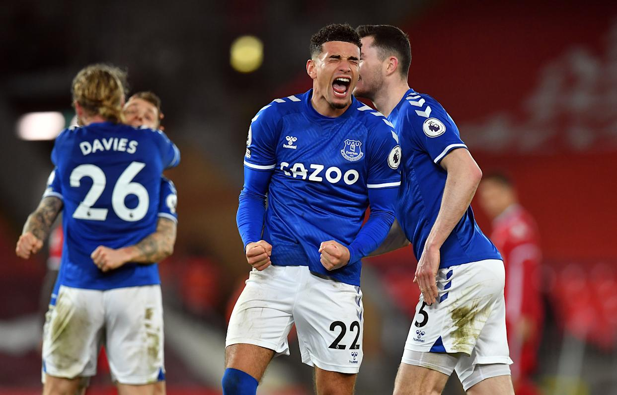 Everton's Ben Godfrey celebrates winning the Premier League match at Anfield, Liverpool. Picture date: Saturday February 20, 2021.