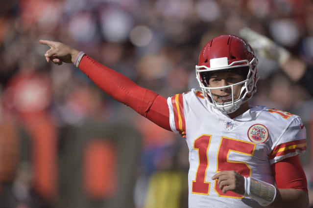 FILE - In this Sunday, Nov. 4, 2018 file photo, Kansas City Chiefs quarterback Patrick Mahomes (15) in action during an NFL football game against the Cleveland Browns in Cleveland. After years of declines, NFL television ratings are showing modest gains. Three of the leagues television partners have shown increases after the first nine week of the season while one remains flat. That is welcome news after ratings decreased 9.7 percent last season and 8 percent in 2016. (AP Photo/David Richard, File)