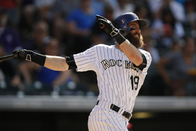 "<a class=""link rapid-noclick-resp"" href=""/mlb/players/8957/"" data-ylk=""slk:Charlie Blackmon"">Charlie Blackmon</a> was once again rewarded for his excellent offensive performance. (AP Photo/David Zalubowski)"