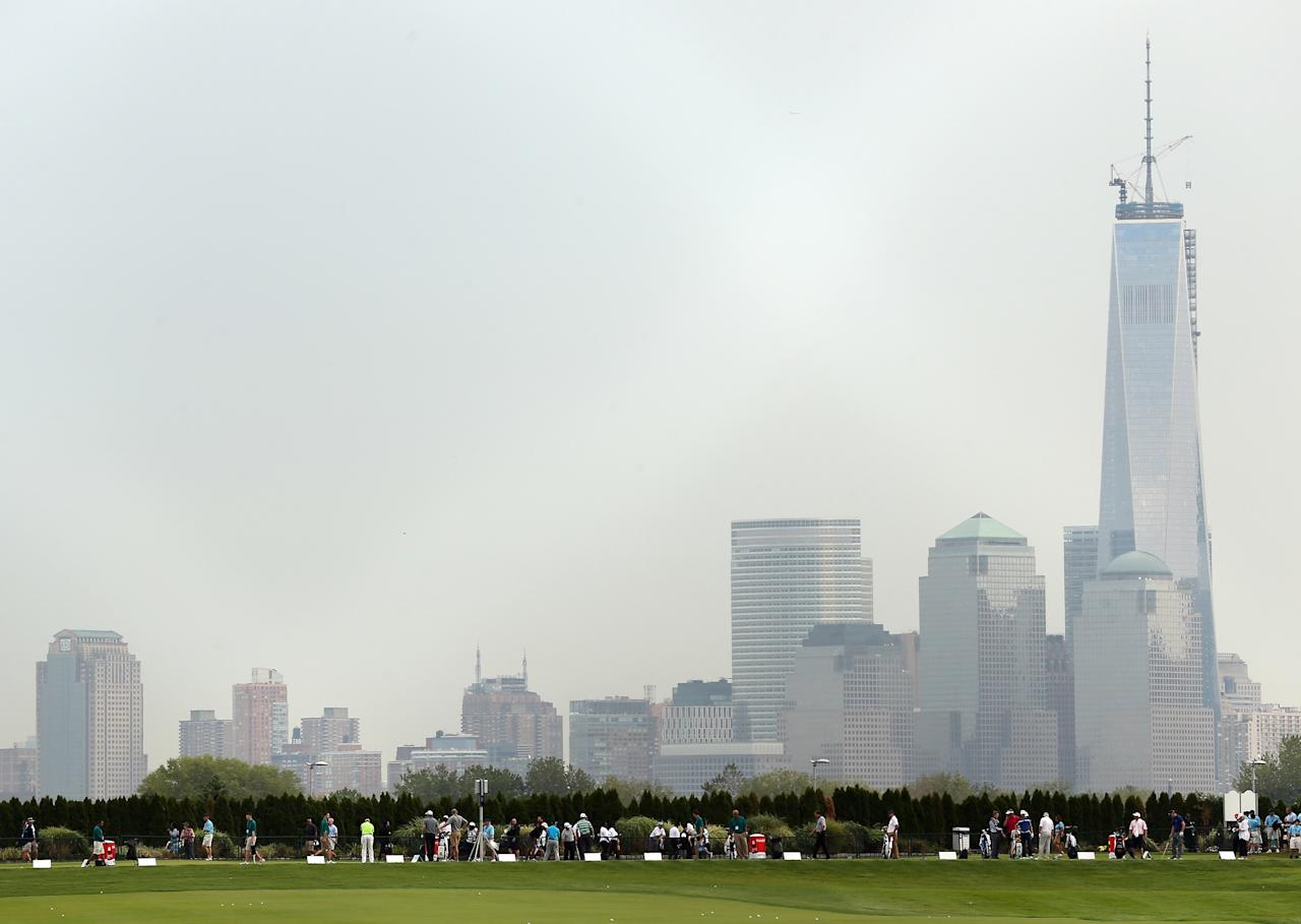 JERSEY CITY, NJ - AUGUST 22: A general view of the driving range during the first round of The Barclays at Liberty National Golf Club on August 22, 2013 in Jersey City, New Jersey. (Photo by Darren Carroll/Getty Images)