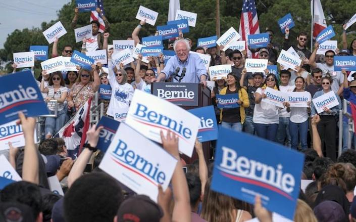 Sanders, the oldest candidate in the race, owes much of his success in California to young voters hungry for change (AFP Photo/RINGO CHIU)