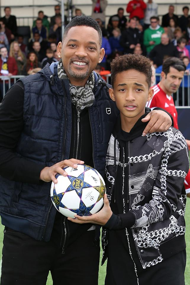 LONDON, ENGLAND - MAY 25:  Will Smith and Jaden Smith attend UEFA's Champions Festival which comes to London to coincide with Wembley hosting the Champions League final at Queen Elizabeth Olympic Park on May 25, 2013 in London, England.  Jaden Smith and Will Smith are in London ahead of the release of their film 'After Earth'.  (Photo by Tim P. Whitby/Getty Images)
