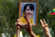 Myanmar citizens protest against the military coup in front of the UN office in Bangkok