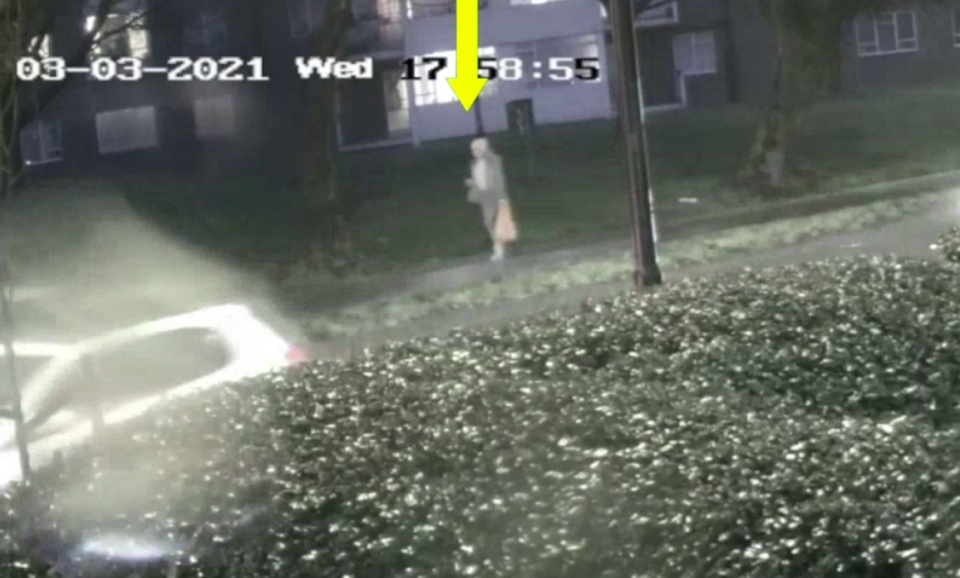 CCTV issued by the Metropolitan Police of Sarah Everard walking home along Poynders Road in Clapham, south London. (PA)