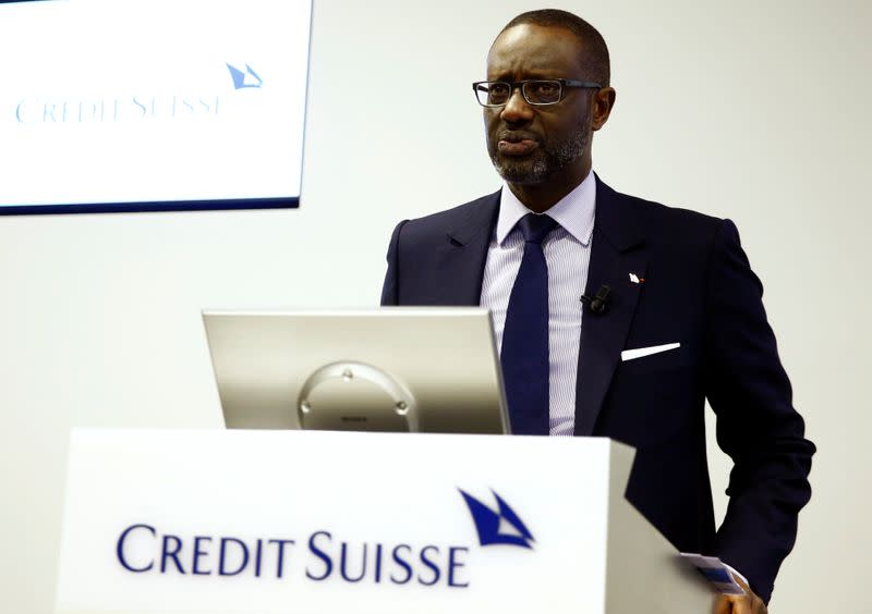 CEO Thiam of Swiss bank Credit Suisse addresses a news conference in Zurich