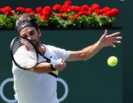 Mar 17, 2018; Indian Wells, CA, USA; Roger Federer (SUI) as he defeated Borna Coric (not pictured) during his semifinal match in the BNP Paribas Open at the Indian Wells Tennis Garden. Mandatory Credit: Jayne Kamin-Oncea-USA TODAY Sports