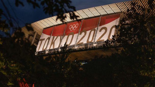 PHOTO: Olympic branding is displayed on Tokyo Olympic stadium on July 21, 2021, in Tokyo. (Carl Court/Getty Images)