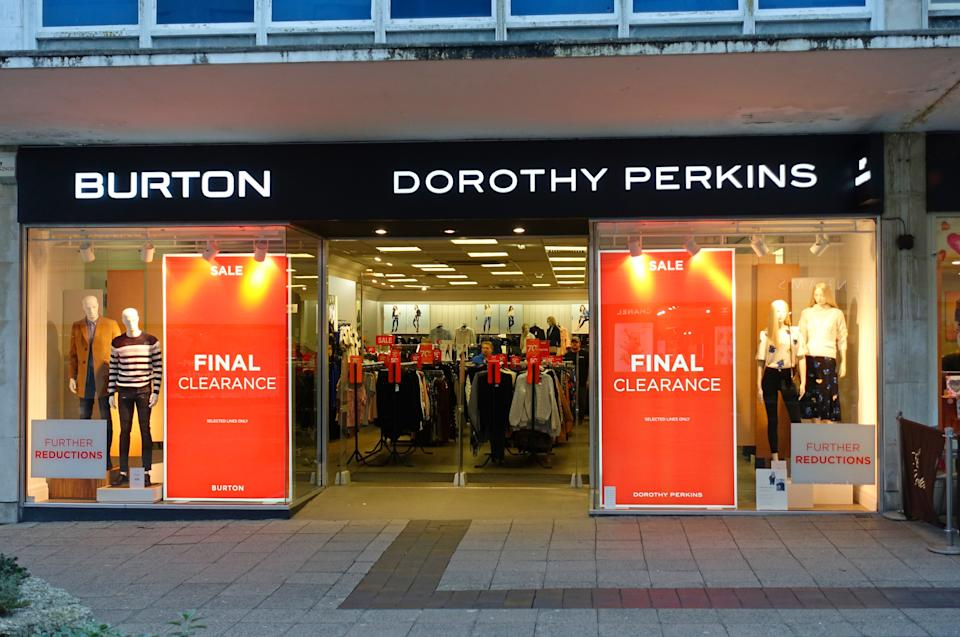 All 214 Burton, Dorothy Perkins and Wallis stores, already closed due to lockdown restrictions, are not part of the deal and will be permanently shut down. Photo: Getty Images