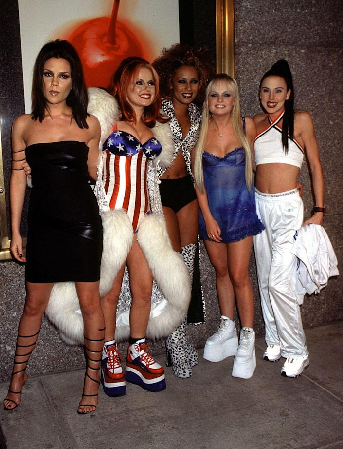 """<p>Got a group of five? Then spice up your life as Posh, Ginger, Scary, Baby, and Sporty Spice. </p><p><a class=""""link rapid-noclick-resp"""" href=""""https://www.amazon.com/Thenice-Womens-Dress-Elasticity-British/dp/B01COLKLRY?tag=syn-yahoo-20&ascsubtag=%5Bartid%7C10070.g.3083%5Bsrc%7Cyahoo-us"""" rel=""""nofollow noopener"""" target=""""_blank"""" data-ylk=""""slk:SHOP UNION JACK DRESS"""">SHOP UNION JACK DRESS</a></p>"""