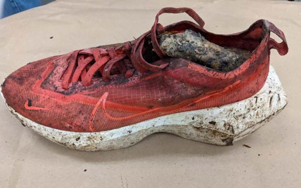 A shoe which contained a severed foot found at Catoctin Mountain Park in Thurmont.