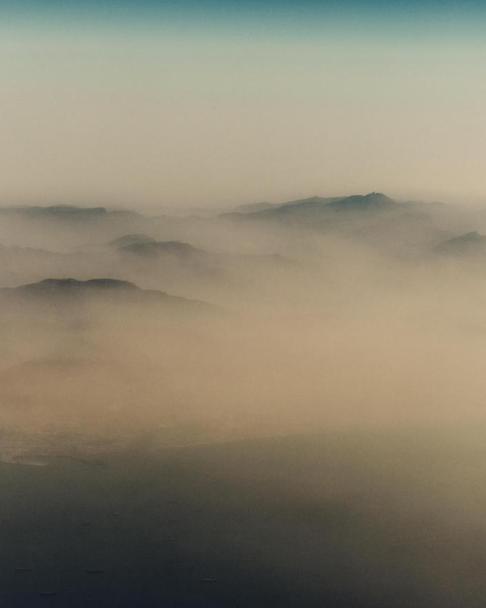 A hazy view on the approach to Dubai International Airport.