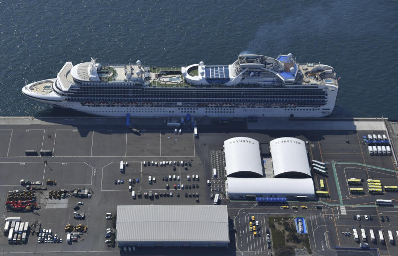 An aerial photo shows the Diamond Princess anchored at Daikoku Futo Wharf in Yokohama on February 21. Source: AAP