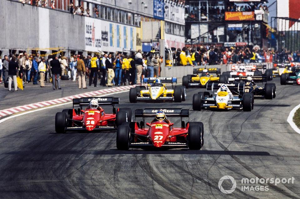 "The start at Zolder '84, and Alboreto is about to dominate. Behind him are teammate Arnoux, Keke Rosberg's Williams, Derek Warwick's Renault, the Lotus of Elio de Angelis and Manfred Winkelhock in an ATS. <span class=""copyright"">Motorsport Images</span>"