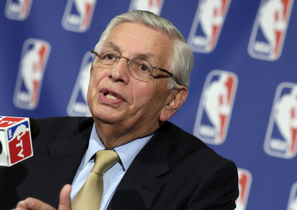 NBA Commissioner David Stern addresses reporters following the NBA Board of Governors' annual meeting in New York's St. Regis Hotel,  Friday, April 19, 2013. (AP Photo/Richard Drew)