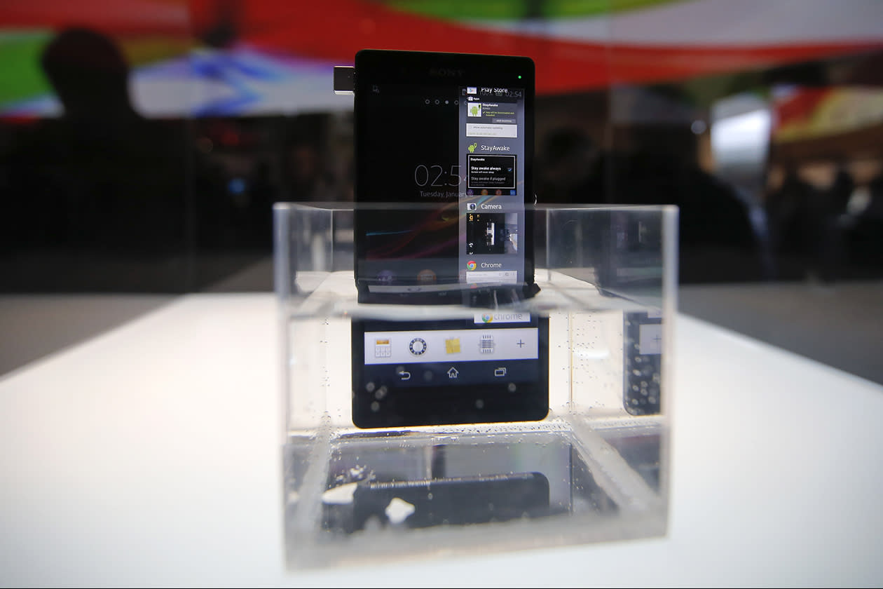 Sony's new Xperia Z smartphone is displayed in water at the Sony booth at the International Consumer Electronics Show.