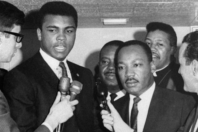 Muhammad Ali and Martin Luther King in 1967 at a rally in Louisville, condemning the Vietnam War. (AP)