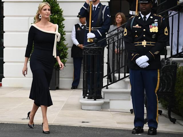 <p>Senior Advisor to the President Ivanka Trump arrives for state welcome of French President Emmanuel Macron at the White House in Washington on April 24, 2018. (Photo: Jim Watson/AFP/Getty Images) </p>