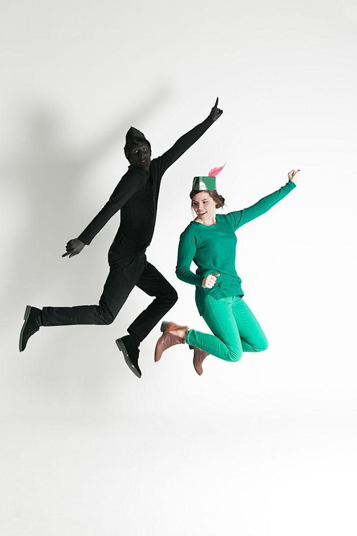 """<p>What a creative, clever, and instantly recognizable costume! This might just be our favorite option on the list.</p><p><strong>Get the tutorial at <a href=""""http://thehousethatlarsbuilt.com/2015/10/last-minute-couples-costumes-peter-pan.html/"""" rel=""""nofollow noopener"""" target=""""_blank"""" data-ylk=""""slk:The House That Lars Built"""" class=""""link rapid-noclick-resp"""">The House That Lars Built</a>.</strong></p><p><strong><a class=""""link rapid-noclick-resp"""" href=""""https://www.amazon.com/Womens-Stretch-Fitted-Casual-Leggings/dp/B01MSANSAU/?tag=syn-yahoo-20&ascsubtag=%5Bartid%7C10050.g.4616%5Bsrc%7Cyahoo-us"""" rel=""""nofollow noopener"""" target=""""_blank"""" data-ylk=""""slk:SHOP LEGGINGS"""">SHOP LEGGINGS</a></strong></p>"""