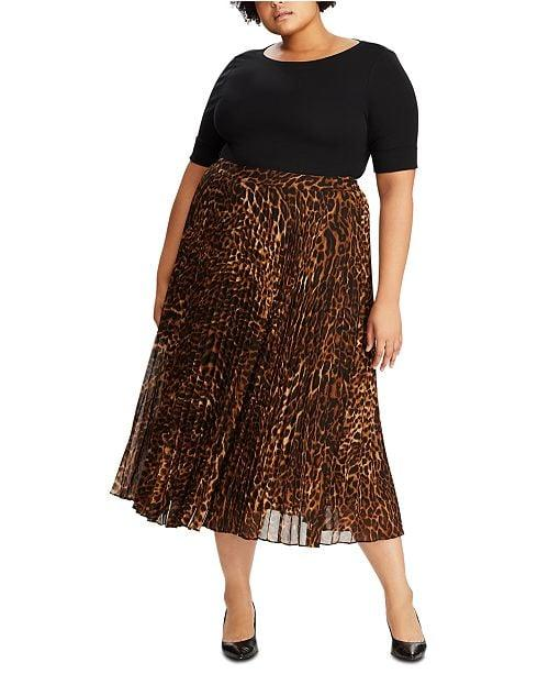 """<p>The leopard-print midi skirt isn't going anywhere this season, and we're into this <a href=""""https://www.popsugar.com/buy/Lauren-Ralph-Lauren-Plus-Size-Animal-Print-Pleated-Georgette-Skirt-496868?p_name=Lauren%20Ralph%20Lauren%20Plus%20Size%20Animal-Print%20Pleated%20Georgette%20Skirt&retailer=macys.com&pid=496868&price=185&evar1=fab%3Aus&evar9=46705422&evar98=https%3A%2F%2Fwww.popsugar.com%2Ffashion%2Fphoto-gallery%2F46705422%2Fimage%2F46705497%2FLauren-Ralph-Lauren-Plus-Size-Animal-Print-Pleated-Georgette-Skirt&list1=shopping%2Cfall%20fashion%2Cfall%2Cskirts%2Ccurve%2Cmacys%2Ccurve%20fashion&prop13=mobile&pdata=1"""" rel=""""nofollow"""" data-shoppable-link=""""1"""" target=""""_blank"""" class=""""ga-track"""" data-ga-category=""""Related"""" data-ga-label=""""https://www.macys.com/shop/product/lauren-ralph-lauren-plus-size-animal-print-pleated-georgette-skirt?ID=10128141&amp;CategoryID=34057"""" data-ga-action=""""In-Line Links"""">Lauren Ralph Lauren Plus Size Animal-Print Pleated Georgette Skirt</a> ($185).</p>"""