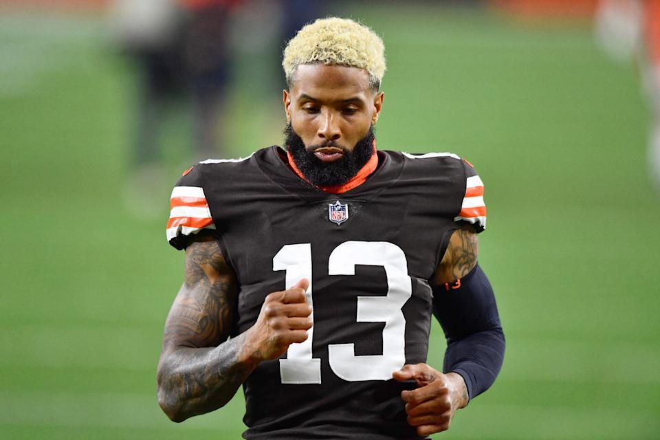Odell Beckham Jr. warms up before a game against the Bengals.