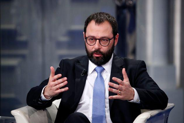 ROME, ITALY - JANUARY 08: Italian Minister of Economic Development, Stefano Patuanelli, during tv broadcast Porta a Porta. Rome (Italy), January 8th, 2020 (Photo by Massimo Di Vita/Archivio Massimo Di Vita/Mondadori Portfolio via Getty Images)