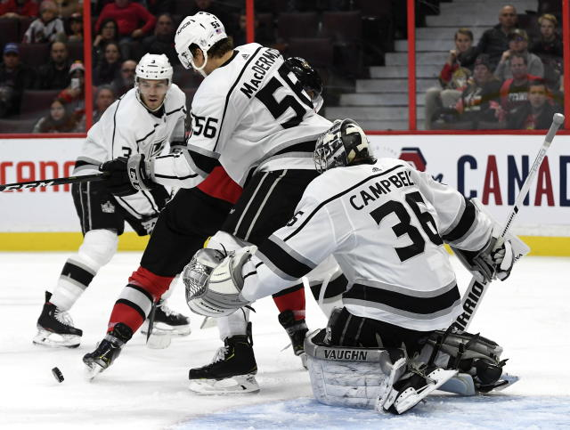 Los Angeles Kings goaltender Jack Campbell (36) tries to see the puck past defenseman Kurtis MacDermid (56) during second-period NHL hockey game action in Ottawa, Ontario, Thursday, Nov. 7, 2019. (Justin Tang/The Canadian Press via AP)