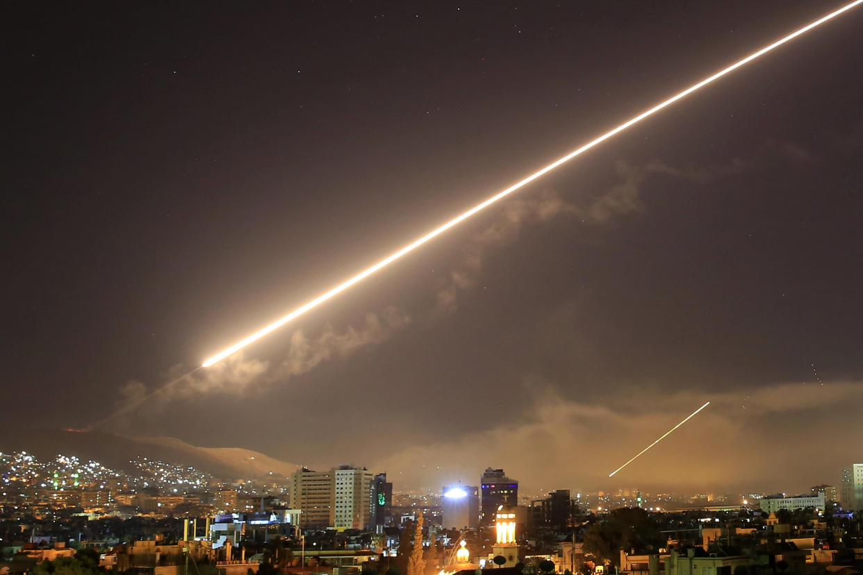 The U.S. attack on Syria targeted different parts of Damascus on April 14, 2018