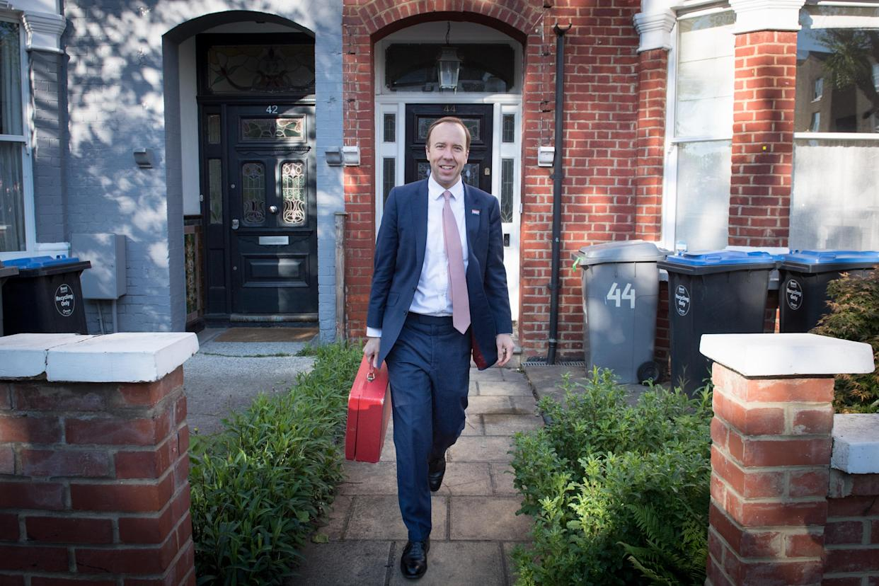 Health Minister Matt Hancock outside his home in north-west London, ahead of an appearance in the House of Commons to answer an urgent question over allegations made by former senior No 10 aide Dominic Cummings that he lied to colleagues and performed
