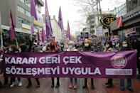 Protesters hold a banner reading 'Withdraw the decree and respect the Istanbul Convention'