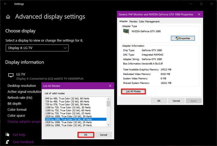 Windows 10 Change TV Refresh Rate