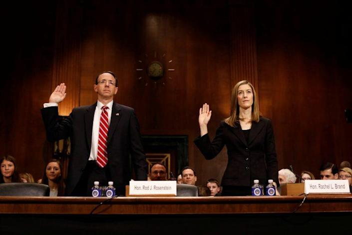 Rod Rosenstein and Rachel Brand are sworn in before the Senate judiciary committee on Capitol Hill. (Photo: Aaron P. Bernstein/Reuters)