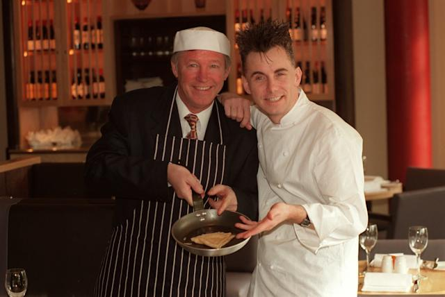 Manchester United manager Alex Ferguson and Gary Rhodes at the opening of a restaurant at the club (PA)