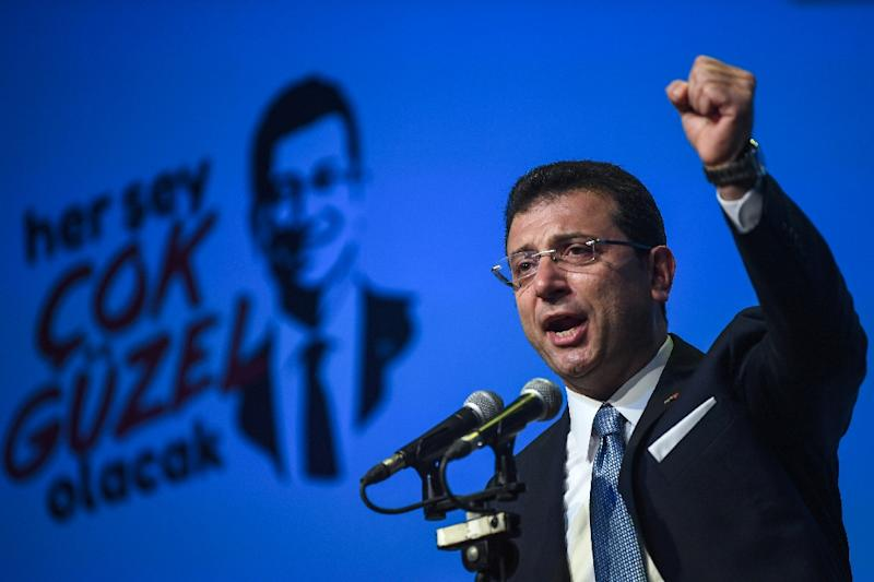 """Imamoglu accused President Recep Tayyip Erdogan's ruling party of peddling """"lies"""" to overturn his narrow victory in the mayoral election in March (AFP Photo/OZAN KOSE)"""