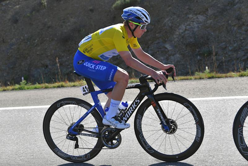 TAVIRA PORTUGAL FEBRUARY 21 Remco Evenepoel of Belgium and Team Deceuninck Quick Step Yellow Leader Jersey during the 46th Volta ao Algarve 2020 Stage 3 a 2019Km stage from Faro to Tavira VAlgarve2020 on February 21 2020 in Tavira Portugal Photo by Tim de WaeleGetty Images