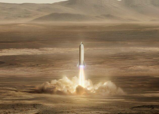 An artists's conception shows SpaceX's Starship craft on Mars. (SpaceX Illustration)