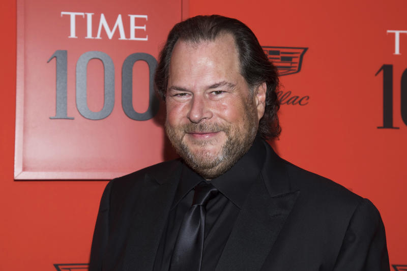Marc Benioff attends the 2019 Time 100 Gala, celebrating the 100 most influential people in the world, at Frederick P. Rose Hall, Jazz at Lincoln Center on Tuesday, April 23, 2019, in New York. (Photo by Charles Sykes/Invision/AP)