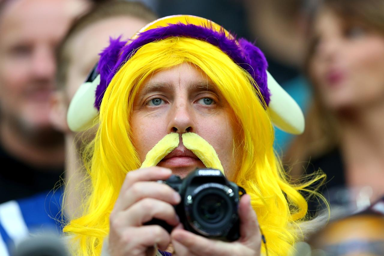 LONDON, ENGLAND - SEPTEMBER 29: A Minnesota Vikings fan looks on prior to the NFL International Series game between Pittsburgh Steelers and Minnesota Vikings at Wembley Stadium on September 29, 2013 in London, England. (Photo by Julian Finney/Getty Images)
