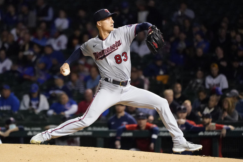 Minnesota Twins starting pitcher Griffin Jax delivers during the first inning of a baseball game against the Chicago Cubs Tuesday, Sept. 21, 2021, in Chicago. (AP Photo/Charles Rex Arbogast)